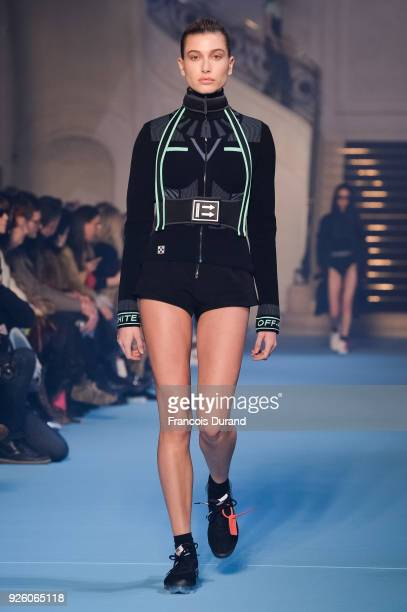 Hailey Baldwin walks the runway during the Off-White show as part of the Paris Fashion Week Womenswear Fall/Winter 2018/2019 on March 1, 2018 in...