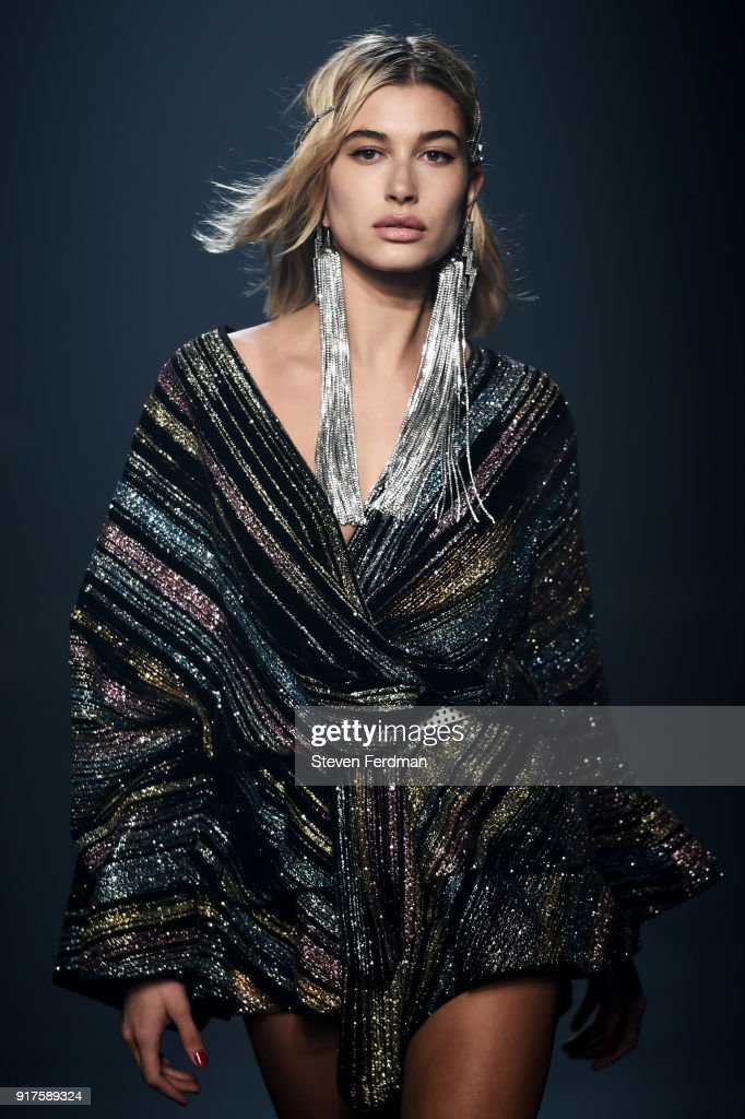 Hailey Baldwin walks the runway for Zadig & Voltaire show during New York Fashion Week at Cedar Lake Studios on February 12, 2018 in New York City.