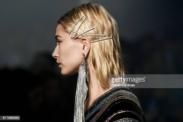 Hailey Baldwin walks the runway for Zadig Voltaire show during New York Fashion Week at Cedar Lake Studios on February 12 2018 in New York City