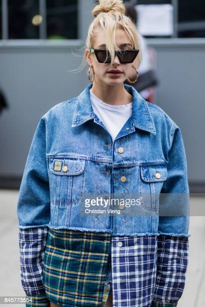 Hailey Baldwin wearing denim jacket seen in the streets of Manhattan outside Zadig Voltaire during New York Fashion Week on September 11 2017 in New...