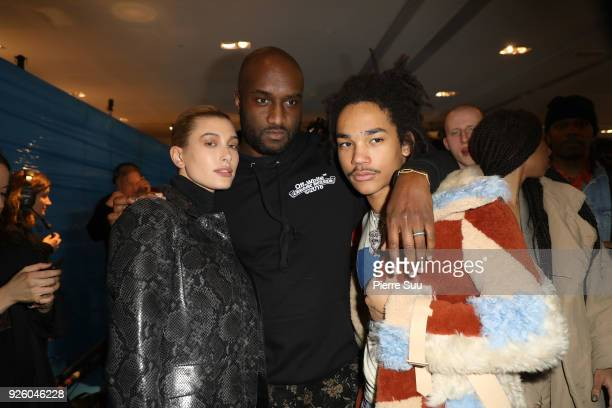Hailey BaldwinDesigner Virgil Abloh and Luka Sabbat are seen backstage at the OffWhite show as part of the Paris Fashion Week Womenswear Fall/Winter...