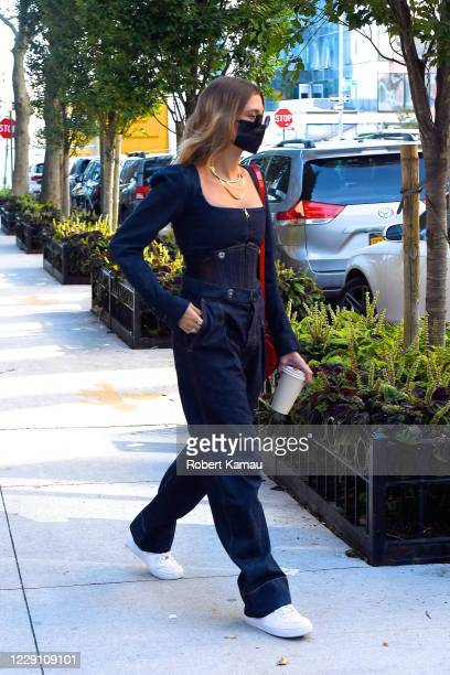 Hailey Bieber and her friends seen out and about in Manhattan on October 15, 2020 in New York City.