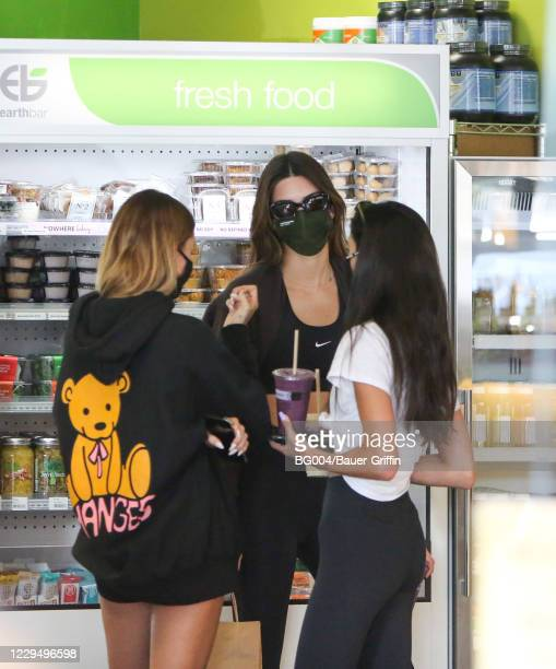 Hailey Bieber and Kendall Jenner are seen on November 06, 2020 in Los Angeles, California.
