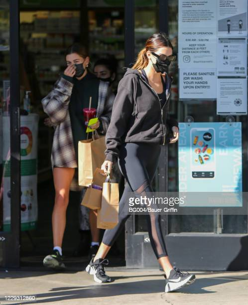 Hailey Bieber and Kendall Jenner are seen on October 27, 2020 in Los Angeles, California.