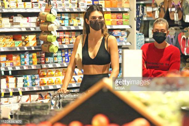 Hailey Bieber and Kendall Jenner seen grocery shopping on September 7 2020 in Los Angeles California
