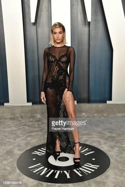 Hailey Bieber attends the 2020 Vanity Fair Oscar Party hosted by Radhika Jones at Wallis Annenberg Center for the Performing Arts on February 09 2020...