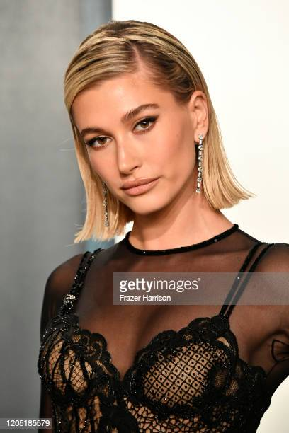 Hailey Bieber attends the 2020 Vanity Fair Oscar Party hosted by Radhika Jones at Wallis Annenberg Center for the Performing Arts on February 09,...