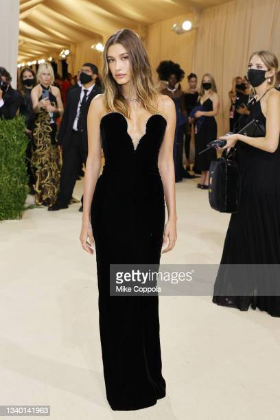 Hailey Bieber attends The 2021 Met Gala Celebrating In America: A Lexicon Of Fashion at Metropolitan Museum of Art on September 13, 2021 in New York...