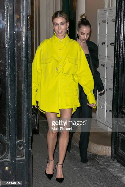 Hailey Bieber attends the Americans In Paris Cocktail Party Outside Arrivals as part of the Paris Fashion Week Womenswear Fall/Winter 2019/2020 on...