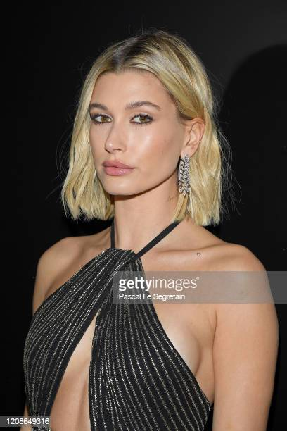 Hailey Bieber attends the Saint Laurent show as part of the Paris Fashion Week Womenswear Fall/Winter 2020/2021 on February 25, 2020 in Paris, France.