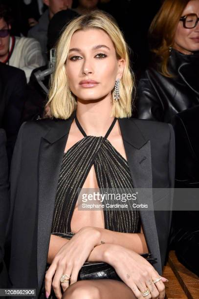 Hailey Bieber attends the Saint Laurent show as part of the Paris Fashion Week Womenswear Fall/Winter 2020/2021 on February 25 2020 in Paris France