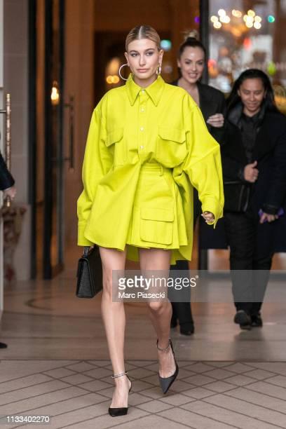 Hailey Bieber Baldwin is seen on March 03, 2019 in Paris, France.