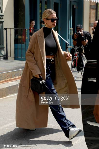 Hailey Bieber comes out of a hairsalon in Soho on May 02, 2019 in New York City.