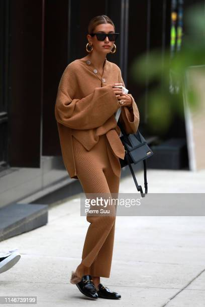 Hailey Bieber comes out of her Brooklyn apartment on May 03 2019 in New York City
