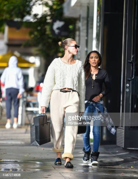 Hailey Bieber is seen leaving Pellequr CBD Spa on December 08, 2019 in Los Angeles, California.