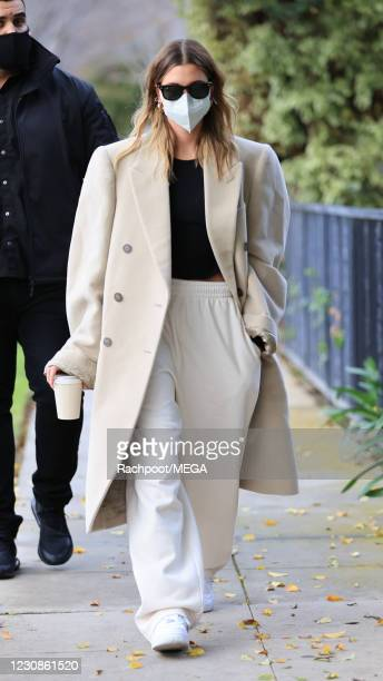 Hailey Bieber is seen on January 29, 2021 in Los Angeles, California.