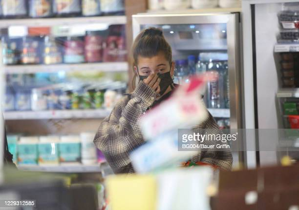 Hailey Bieber is seen on October 27, 2020 in Los Angeles, California.