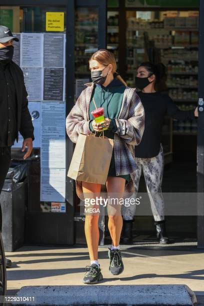 Hailey Bieber seen leaving the gym on October 27, 2020 in Los Angeles, California. (Photo by Rachpoot/MEGA/GC Images
