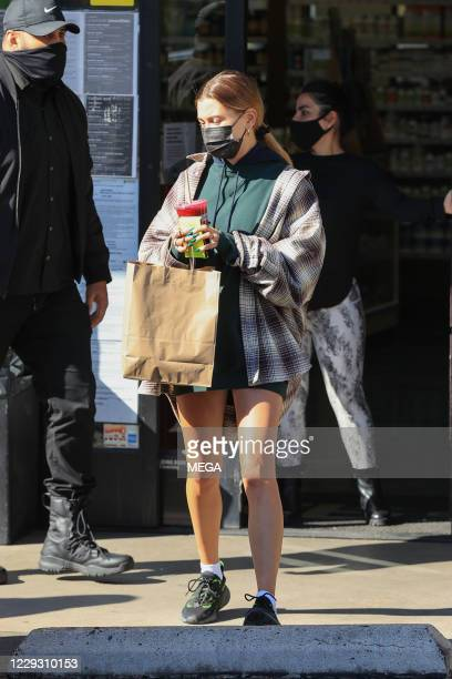 Hailey Bieber seen seen picking up a juice on October 27, 2020 in Los Angeles, California. (Photo by Rachpoot/MEGA/GC Images