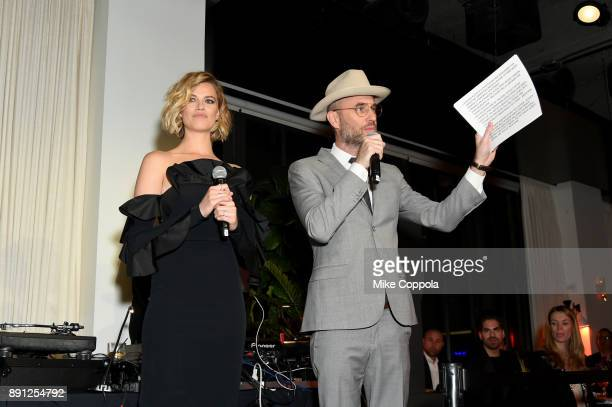 Hailey Clauson and Andy Boose attend the CR Fashion Book Celebrating launch of CR Girls 2018 with Technogym at Spring Place on December 12 2017 in...
