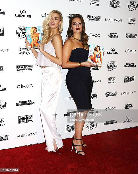 Hailey Clauson and Ashley Graham attend Sports Illustrated Celebrates Swimsuit 2016 at Brookfield Place on February 16 2016 in New York City