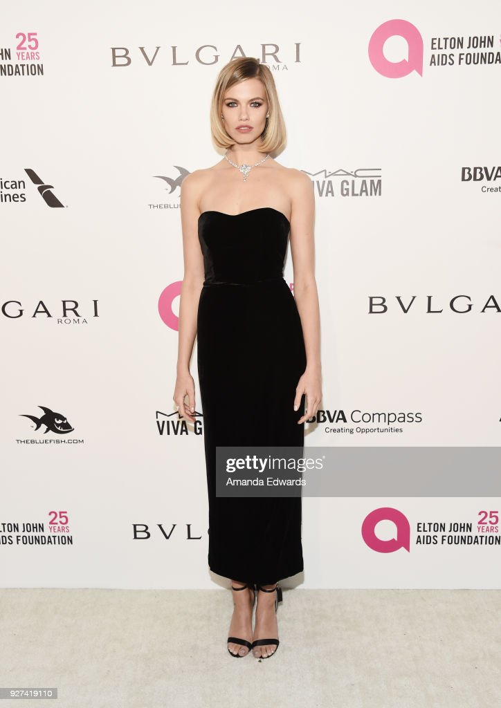 Hailey Clauson arrives at the 26th Annual Elton John AIDS Foundation's Academy Awards Viewing Party on March 4, 2018 in West Hollywood, California.