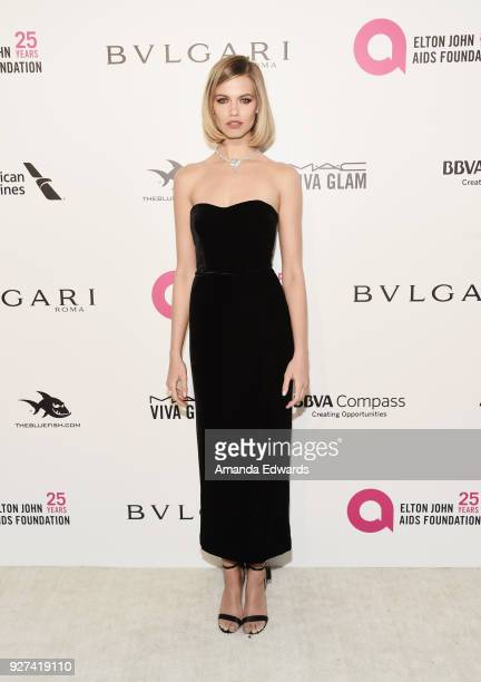 Hailey Clauson arrives at the 26th Annual Elton John AIDS Foundation's Academy Awards Viewing Party on March 4 2018 in West Hollywood California