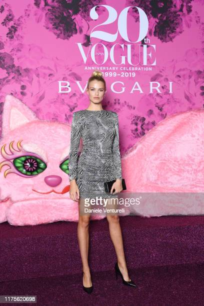 Hailey Clauson attends the Vogue Japan 20th Anniversary Party on September 18, 2019 in Milan, Italy.