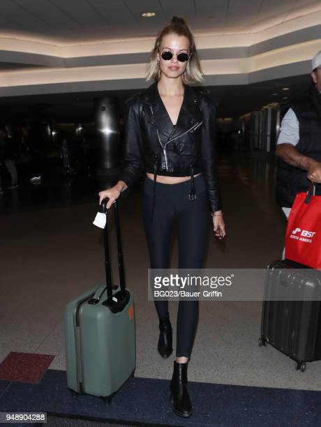 Hailey Clauson is seen at LAX on April 19 2018 in Los Angeles California
