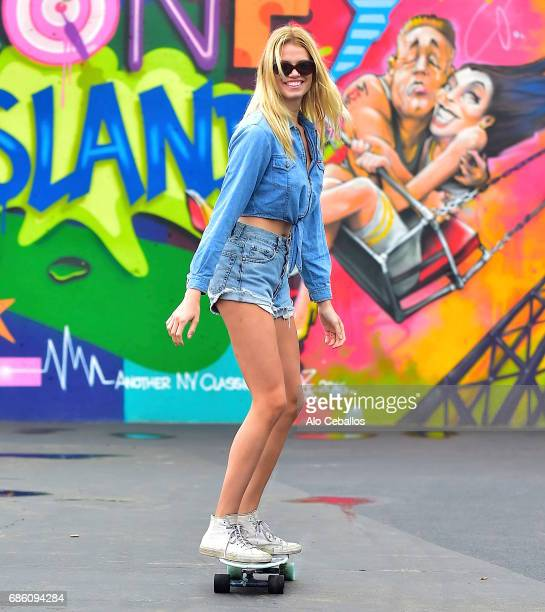 Hailey Clauson is seen at the Coney Island Art Walls on May 20 2017 in New York City