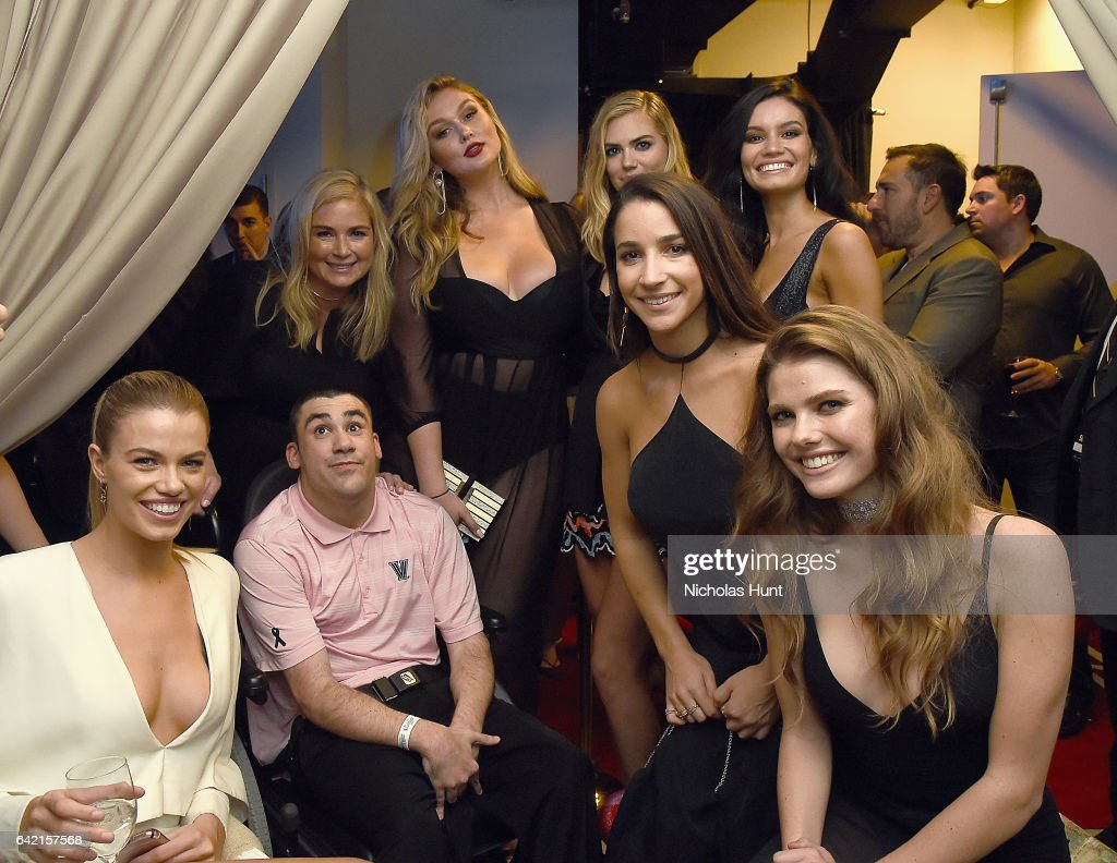 Hailey Clauson, MJ Day, Hannah McGrady, Kate Upton, Aly Raisman, Anne de Paula, and McKenna Berkley attend Sports Illustrated Swimsuit 2017 NYC launch event at Center415 Event Space on February 16, 2017 in New York City.