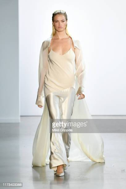 Hailey Clauson walks the runway for Cong Tri during New York Fashion Week: The Shows at Gallery I at Spring Studios on September 09, 2019 in New York...