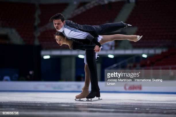 Hailey Esther Kops and Artem Tsoglin of Israel compete in the Junior Pairs Short Program during the World Junior Figure Skating Championships at...