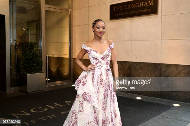 Hailey Kilgore poses for a photo as the 2018 TONY award nominees prep at Langham Hotel on June 10 2018 in New York City