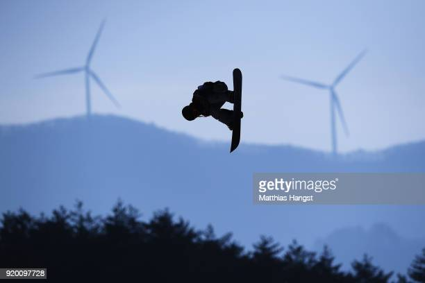 Hailey Langland of the United States practices prior to the Snowboard Ladies' Big Air Qualification on day 10 of the PyeongChang 2018 Winter Olympic...