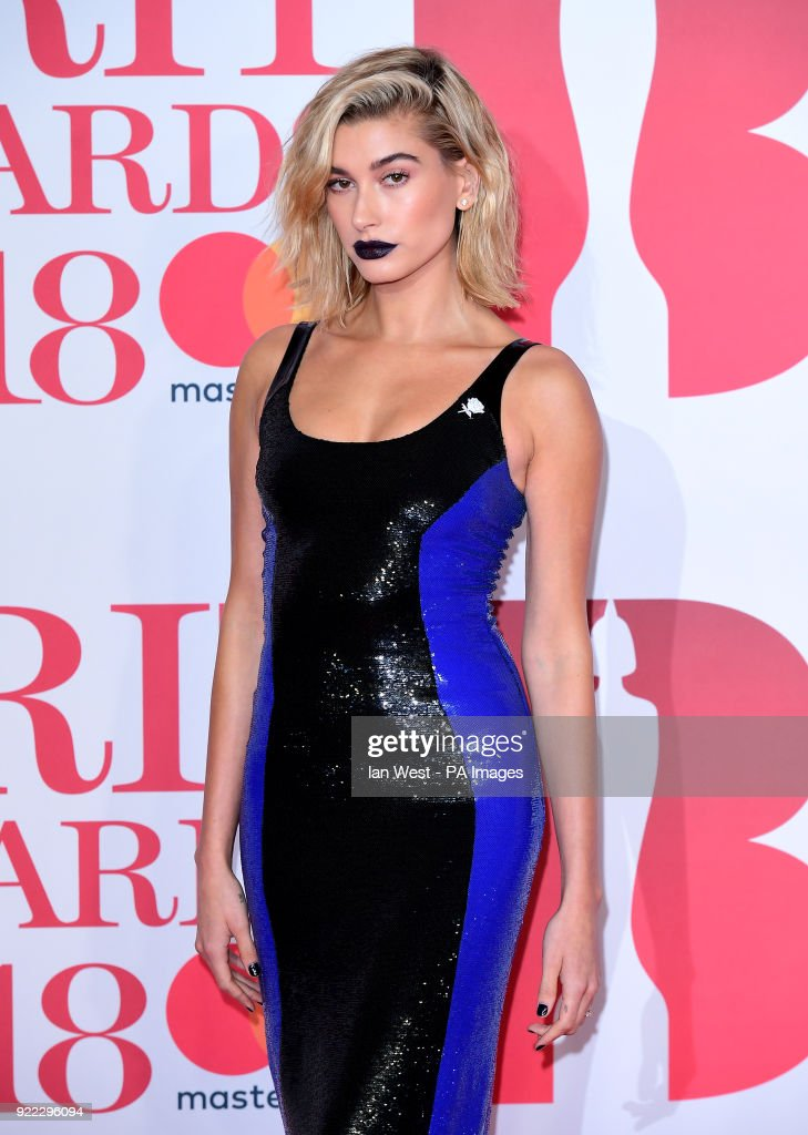 Hailey Rhode Baldwin attending the Brit Awards at the O2 Arena, London.