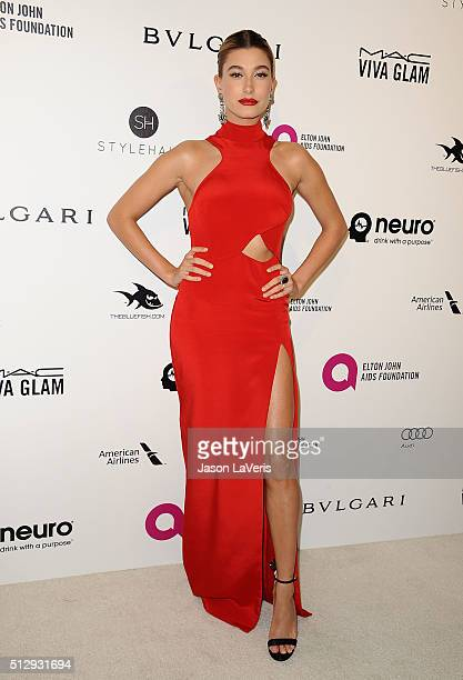 Hailey Rhode Baldwin attends the 24th annual Elton John AIDS Foundation's Oscar viewing party on February 28 2016 in West Hollywood California