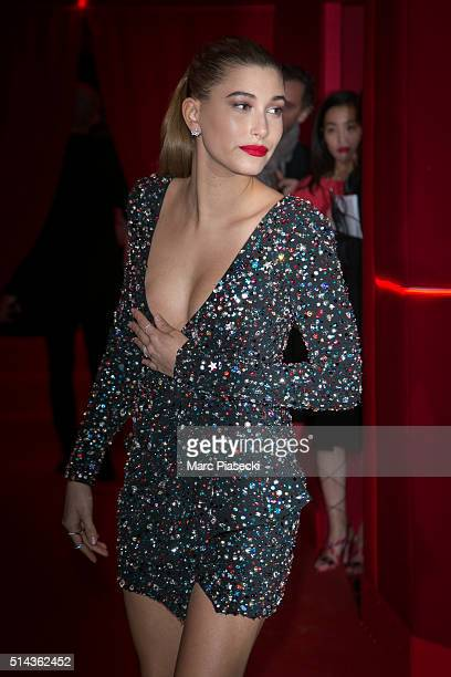 Hailey Rhode Baldwin attends the Red Obsession party to celebrate L'Oreal Paris's partnership with Paris Fashion Week on March 8 2016 in Paris France...