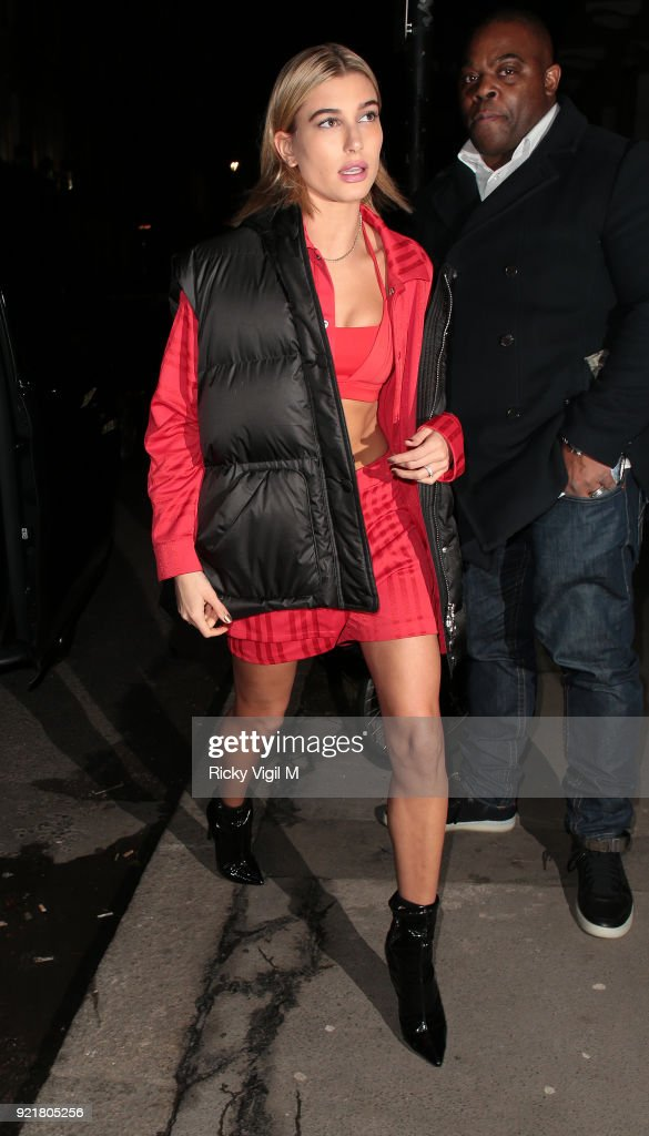 Hailey Rhode Baldwin seen attending a fashion party in central London during LFW February 2018 on February 20, 2018 in London, England.