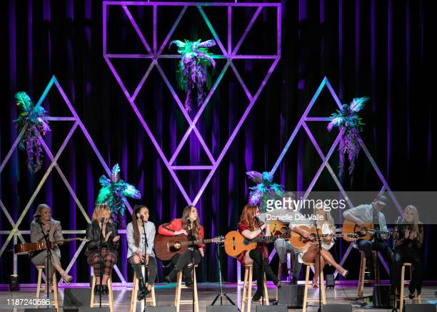 Hailey Whitters Sami Bearden Savana Santos Sam Backoff Caylee Hammack Abbey Cone and Gabby Barrett perform onstage during the 2019 CMT Next Women Of...