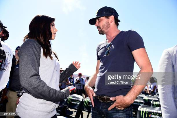 Hailie Deegan and Jonny Moseley attend the Monster Energy NASCAR Cup Series Toyota/Save Mart 350 at Sonoma Raceway on June 24 2018 in Sonoma...