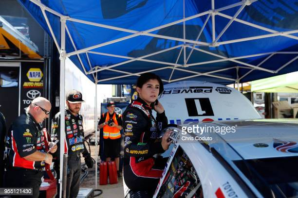 Hailie Deegan driver of the car gets out of her car after a practice lap before the NASCAR KN Pro Series West Twin 100's at Tucson Raceway Park on...