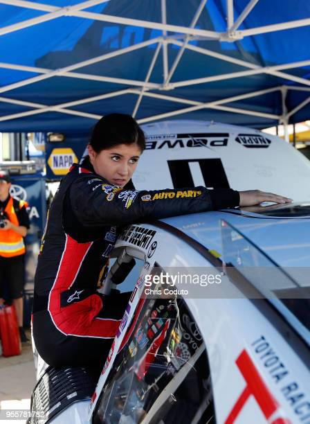 Hailie Deegan driver of the car gets out of her car after a practice lap before the NASCAR KN Pro Seriws West Twin 100's at Tucson Raceway Park on...