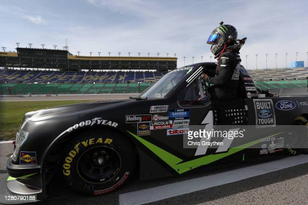 Hailie Deegan driver of the FORD Ford enters her truck for the NASCAR Gander RV Outdoors Truck Series Clean Harbors 200at Kansas Speedway on October...