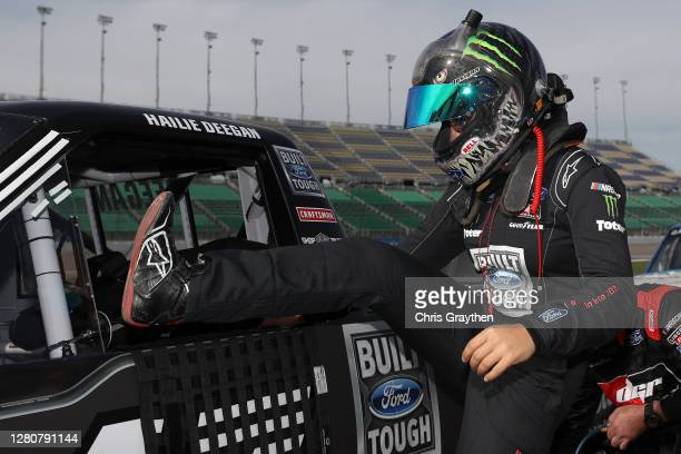 Hailie Deegan driver of the FORD Ford enters her truck to start the NASCAR Gander RV Outdoors Truck Series Clean Harbors 200at Kansas Speedway on...