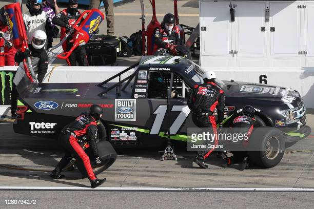 Hailie Deegan driver of the FORD Ford pits during the NASCAR Gander RV Outdoors Truck Series Clean Harbors 200at Kansas Speedway on October 17 2020...