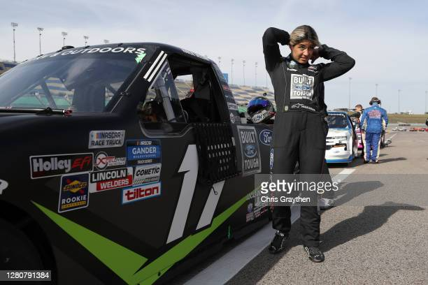 Hailie Deegan driver of the FORD Ford prepares for the NASCAR Gander RV Outdoors Truck Series Clean Harbors 200at Kansas Speedway on October 17 2020...