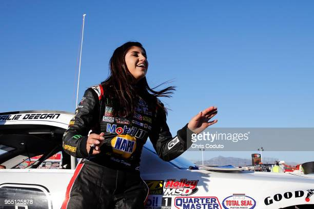 Hailie Deegan driver of the laughs while signing autographs before the NASCAR KN Pro Series West Twin 100's at Tucson Raceway Park on May 5 2018 in...