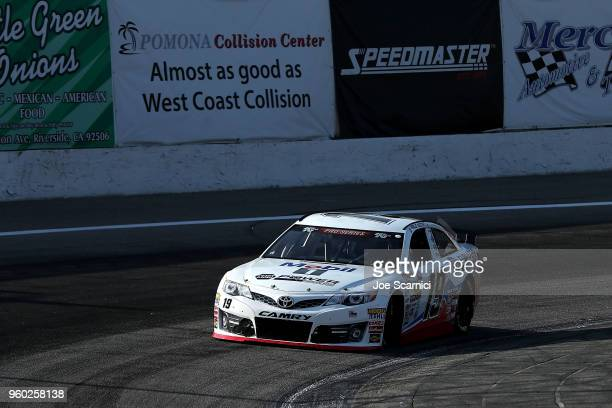 Hailie Deegan driver of the Mobil 1 / Napa Power Premium Plus Toyota races during qualification at the NASCAR KN Pro Series West at Orange Show...
