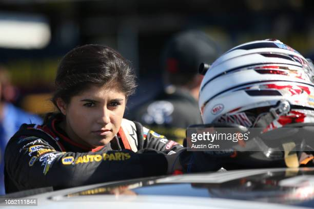 Hailie Deegan driver of the Mobil 1/NAPA Power Premium Plus Toyota during practice for the NASCAR KN Pro Series West NAPA AutoCare/Roseville Toyota...